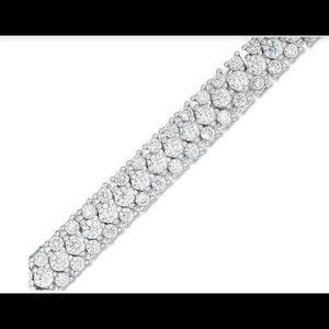 "7.25"" White Sapphire triple row tennis bracelet"